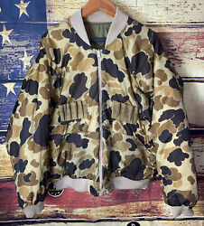 Vintage Columbia Duck Camo Reversible Bomber Puffer Hunting Jacket Coat Xl Brown