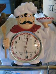 Vintage Sterling And Noble Chef Wall Clock Home Is Where The Cook Is Works Desc