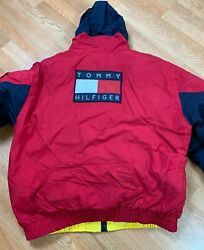 Vtg 90and039s Big Flag Down-filled Reversible Puffy Jacket Size Xl