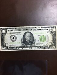 1934 J 500 Bill Low Serial Nice Condition With Reverse Ink Writing
