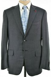 Isaia Nwt Suit Size 50 40s In Solid Gray Flannel Dynamic Comfort Wool Blend