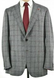 Isaia Nwt Suit Size 56 46r Us Light Gray And Burgundy Plaid Overcheck 130s Flannel