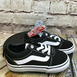 Vans Off the Wall Kids Toddler Black Low Lace Up Canvas Classic Sneakers Size 8