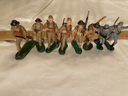 """Marx Wwii Hand-painted 60mm American Soldiers, 2 1/2"""" High, 6 British 2 German"""