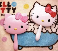 New Cute Hello Kitty Handheld Portable Make up Mirror Gift Pink