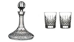 Waterford Crystal Lismore Ships Decanter And 2 Dofs. Retail 1065.00. New In Box