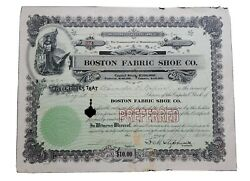 1919 Boston Fabric Shoe Stock Certificate #274 Issued to Alexander N. Napin