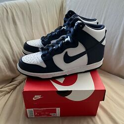 Nike Dunk High White Navy - New Gs Size 7y Ships Asap