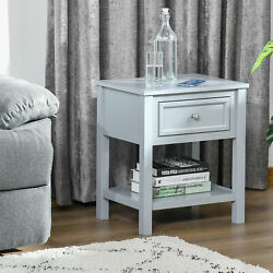 Homcom Accent End Table Nightstand Side Table With Drawer And Storage Shelf
