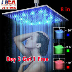 Led Colorful Shower Head 8 Square Shower Automatic Light Up 7 Colors Changing