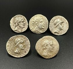 Old Silver Coins Ancient Near Eastern Bactrian Indo Greek Hellenistic Antiquity