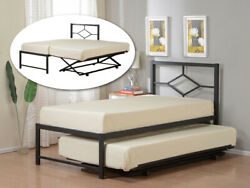 Twin Size Metal Hirise Day Bed Daybed Frame With Headboard And Pop Up Trundle