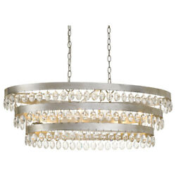 Crystorama 6107-sa 6 Light Antique Silver Transitional Linear Chandelier