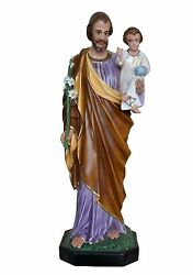 Statue Saint Giuseppe Cm 100 In Fibreglass Eyes Of Glass For Indoor And External