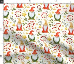 Cute Gnomes Red Berries Golden Stars Christmas Spoonflower Fabric By The Yard