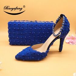Flower Wedding Matching Bags High Heels Pointed Toe Ankle Ladies Party Shoes