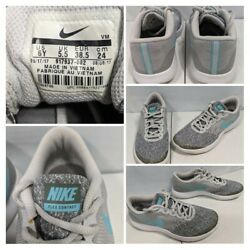 Nike Flex Contact Womenand039s Size 7.5/youth 6y Running Athletic Shoes Gray Blue