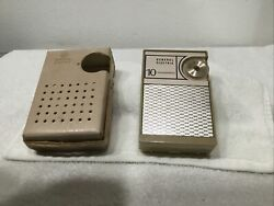 Vintage 1950and039s General Electric 10 Transistor Radio / Case - Am Band Works