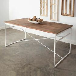 Rustic Farm Wood Top Table   Vintage Antique Distressed Weathered Farmhouse Chic
