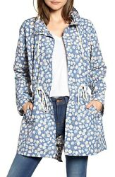 Madewell Womenand039s Ruffle Neck Anorak Raincoat Jacket In French Floral Blue Size M