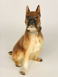 Vintage Porcelain Brown Boxer Dog Puppy Figurine Japan 5 1 2 Tall With Collar