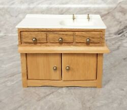 MINIATURE WOOD amp; PLASTIC BATHROOM KITCHEN SINK FOR DOLLHOUSE 1:12 SCALE