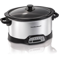 NEW 5 Quart Programmable Slow Cooker Stoneware Warming Setting Removable Parts