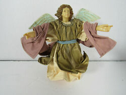 Vintage Paper Mache Angel Christmas Nativity Flying Gold Fabric Ornament