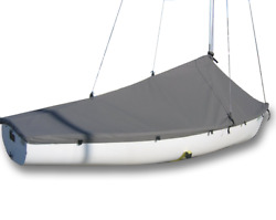 Flying Junior Sailboat - Fj Boat Mast Up Peaked Cover - Polyester Charcoal Gray