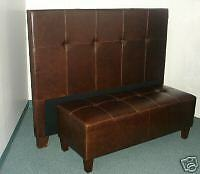 Queen Size Genuine Leather Headboard For Bed And Matching Bench