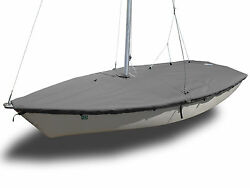Laser Ii Sailboat - Boat Mast Up Flat Cover - Polyester Charcoal Gray - Usa Made