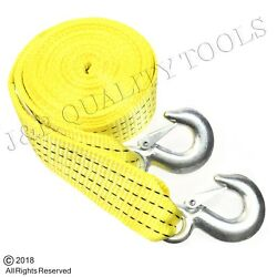 20 Foot 10000lb Atv Recovery Tow Strap Cable Rope With Hooks