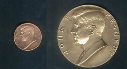 Set Of 2 The Same John Fitzgerald Kennedy Medals In Different Sizes Huge And Small