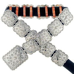 Native American Navajo Hand Stamped Square Silver Concho Belt By Tom Ahasteen