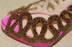 2400 Christian Louboutin Pink Brown Strass Dorado 120 Shoes Crystals 40.5 10