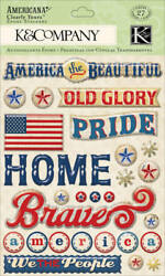 Kandco Americana Words Clearly Yours 3d Stickers