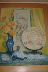 Marie Page Painting Signed Still Life Old Rare Vase