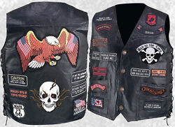 Mens Black Leather Motorcycle Vest Waistcoat with 23 Biker Patches Eagle