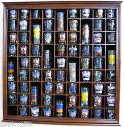 Large Wall Shadow Box Cabinet to hold 71 Shot Glasses Display Case Hardwood $159.95