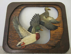Hand Relief Carved Large Wooden Plaque Of Mallard Ducks