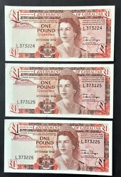 Gibraltar Three 3 Consecutive 1986 Crisp Unc Andpound 1 One Pound Notes P 20d