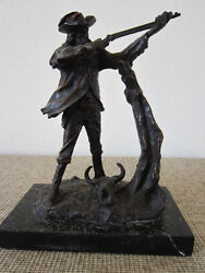 Bronze Statue Of Cowboy Rifleman Signed C.russell