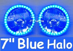 1pr Blue Led Halo 7 Round Headlights For Land Rover 1 2 2a 3 Series