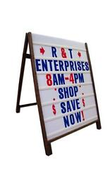 Wood A Frame 24x36 Sidewalk Sign W/letter Track Inserts And Letter Kit