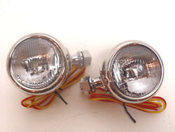 Ford Cowl Lamp Set - Polished Stainless Steel With Turn Signal 1932 - 12 Volt