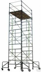 Scaffold Rolling Tower With 21' High Standing Deck Guardrail And Ladder Frames
