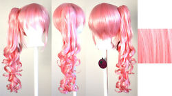 23'' Curly Pony Tail + Base Cotton Candy Pink Cosplay Wig NEW