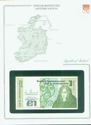 Republic Of Ireland Bank Note £1 Punt Stamped Windowed Envelope With Map And Info