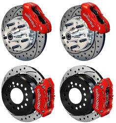 Wilwood Disc Brake Kit70-72 Cdp B And E Body W/discs11 Drilled Rotorsred Calip