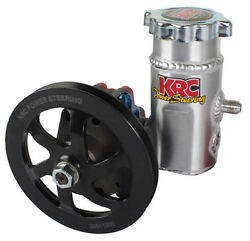 Krc Pro Series Aluminum Power Steering Pump W/ V-belt Pulley And Bolt-on Tank
